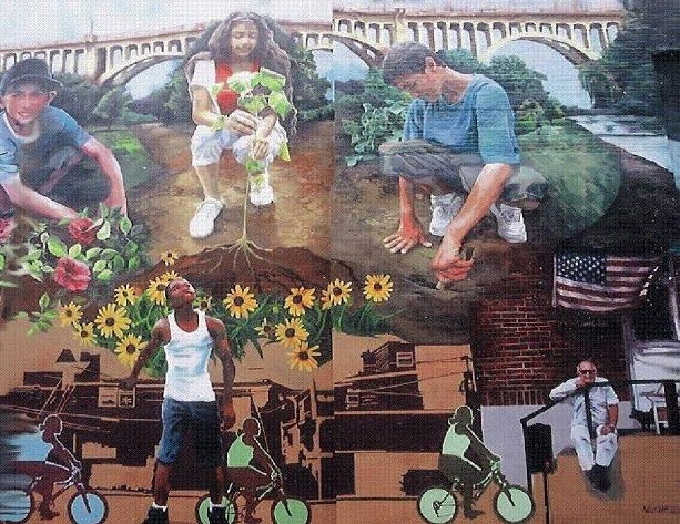 Building Bridges Embracing Change mural in Allentown, PA