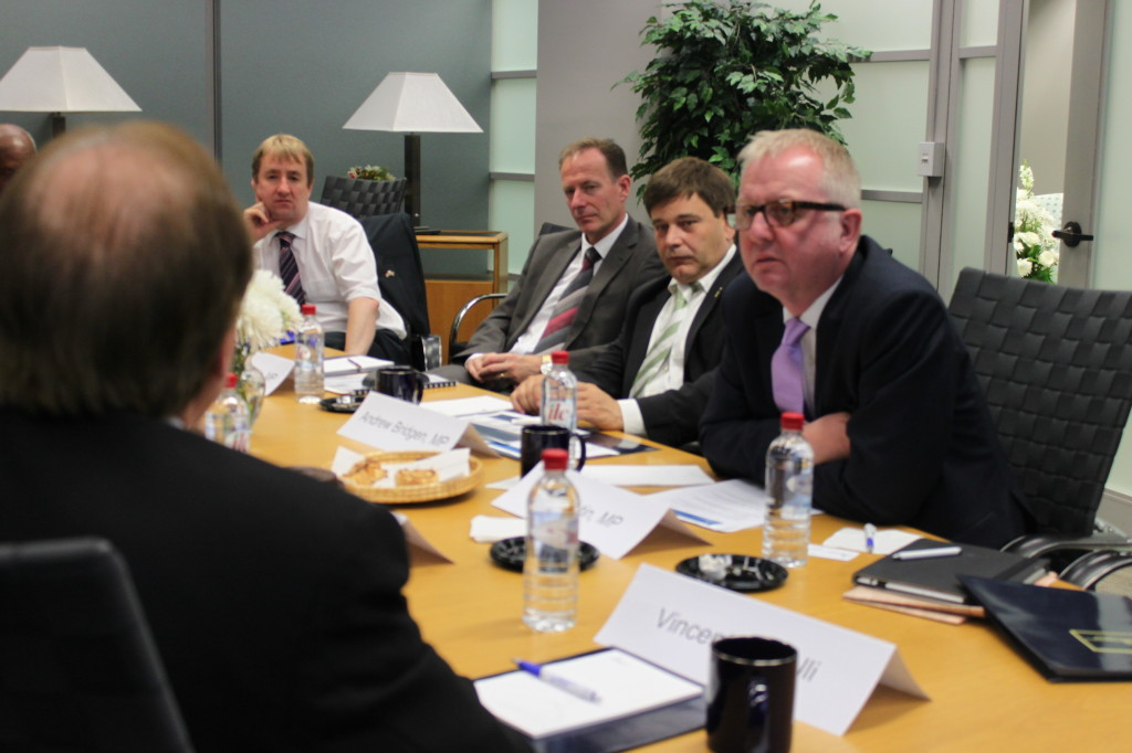 (L-R) MP Nigel Mills, MP Iain McKenzie, MP Andrew Bridgen, and MP Ian Austin attend a meeting at the Congressional Research Service