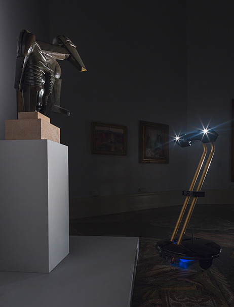 An After Dark robot examining Sir Jacob Epstein's Torso in Metal from 'The Rock Drill' (1913-1914) at the Tate Britain. Source: http://bit.ly/1vMOHKb