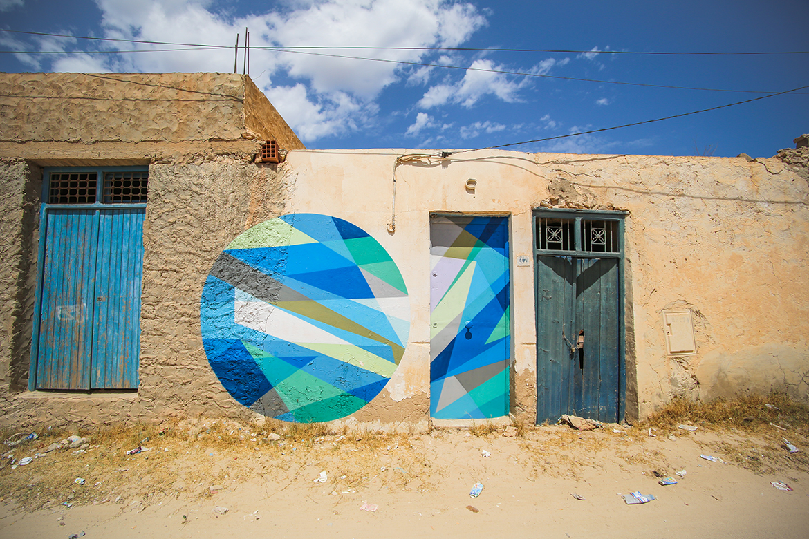 A piece by Russian street artist, Wais1, for the Djerbahood project in the village of Er-Riadh on the island of Djerba; Credit: Galerie itinerrance/Aline Deschamps