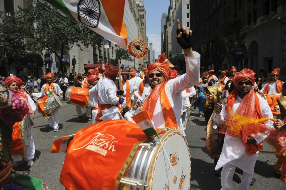 Participants march on Madison Avenue during the annual India Day Parade on Sunday, Aug. 17, 2014. (Credit: Charles Eckert) Source: http://bit.ly/VTuo0y