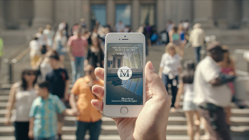 The Metropolitan Museum of Art's app, The Met, shown outside the museum in New York City