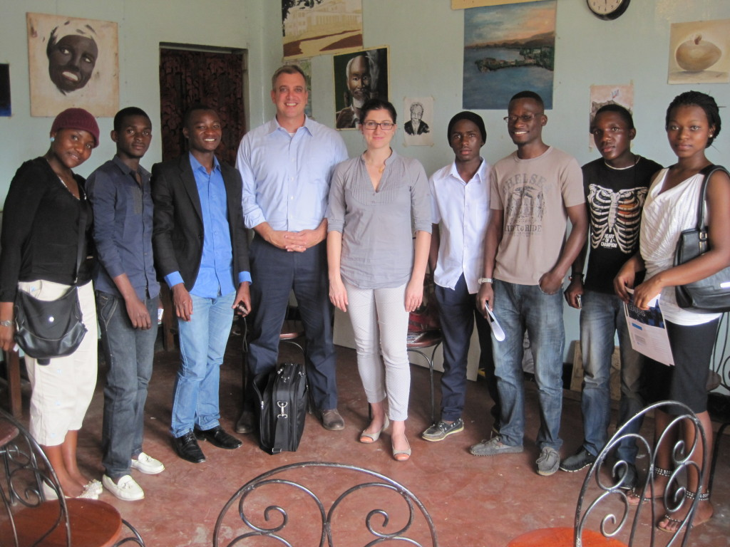 Terry and U.S. Embassy staff with local partners and artists in Kinshasa.