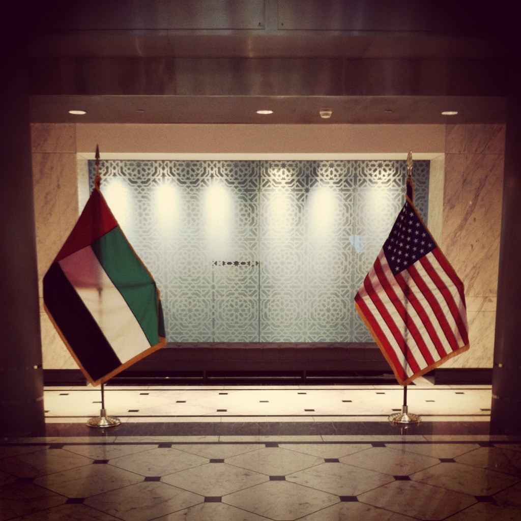 The UAE and US flags at the UAE Embassy.