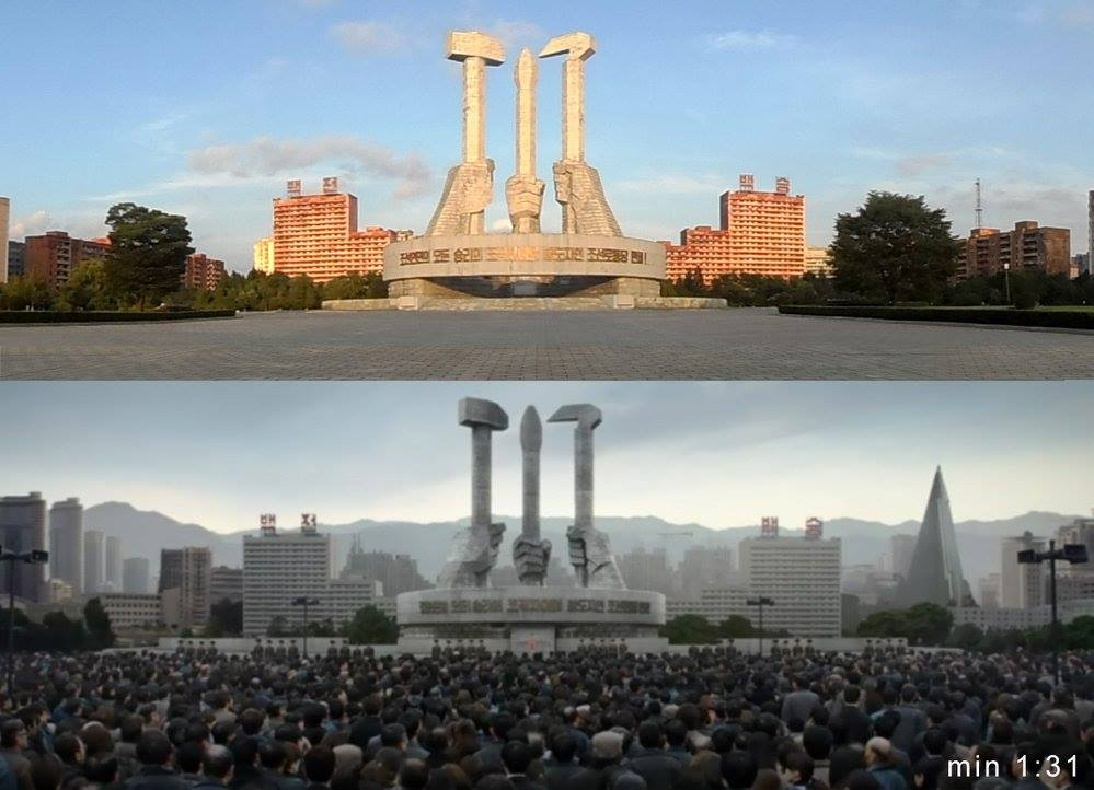 The Monument to the Korean Workers Party in reality (top) and in the movie.