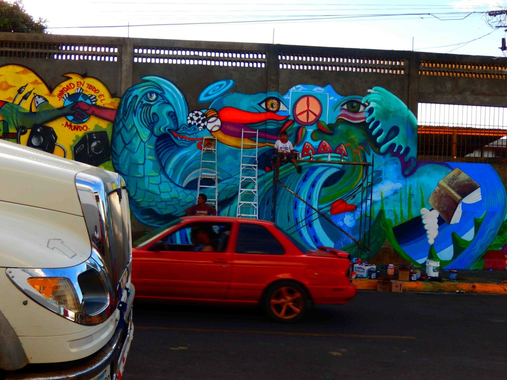 This mural was tall and required several ladders.
