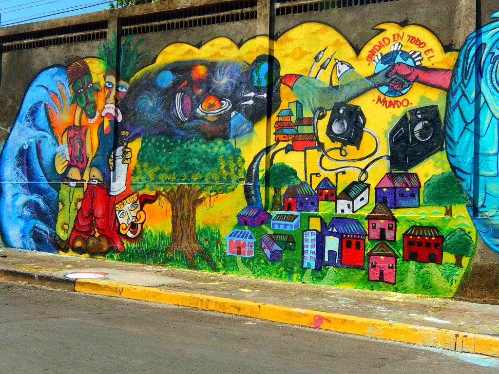 Detail of the mural, which shows the neighborhood.