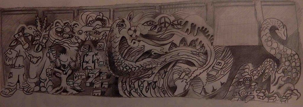 One of the mural sketches I designed.
