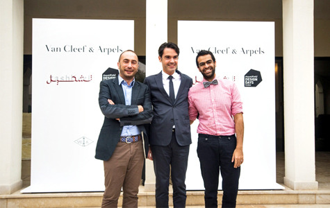 "Van Cleef & Arpels, Tashkeel, and Design Days Dubai launched ""Métamorphose,"" an art design initiative to support artists and designers across the GCC. On the right is Khalid Mezaina, a Past Forward artist /Courtesy of Mid-East Information."