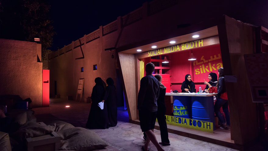 The social media booth at SIKKA Art Fair gives updates and news on the fair by posting on Instagram, Twitter, Facebook, and other social media channels /Courtesy of Dubai Culture.