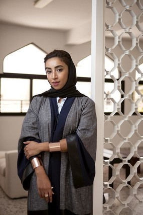 Zeinab Alhashemi, a Past Forward artist participates in the Qasr Al Hosn Festival with Link between Worlds, five abstract triangular shapes inspired by the sails that used to power dhows in and out of Abu Dhabi / Courtesy of Antonie Robertson, The National