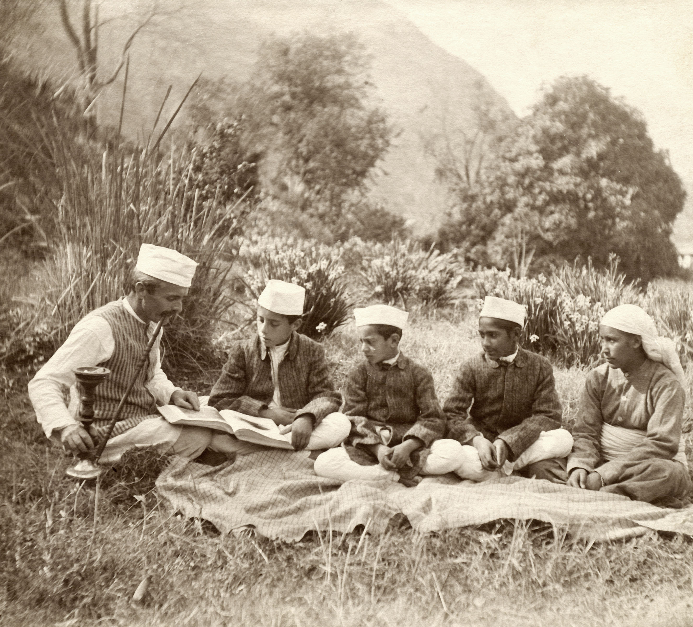 Samuel Stokes teaching an outdoor class, c. 1930 Shimla, Himachal Pradesh