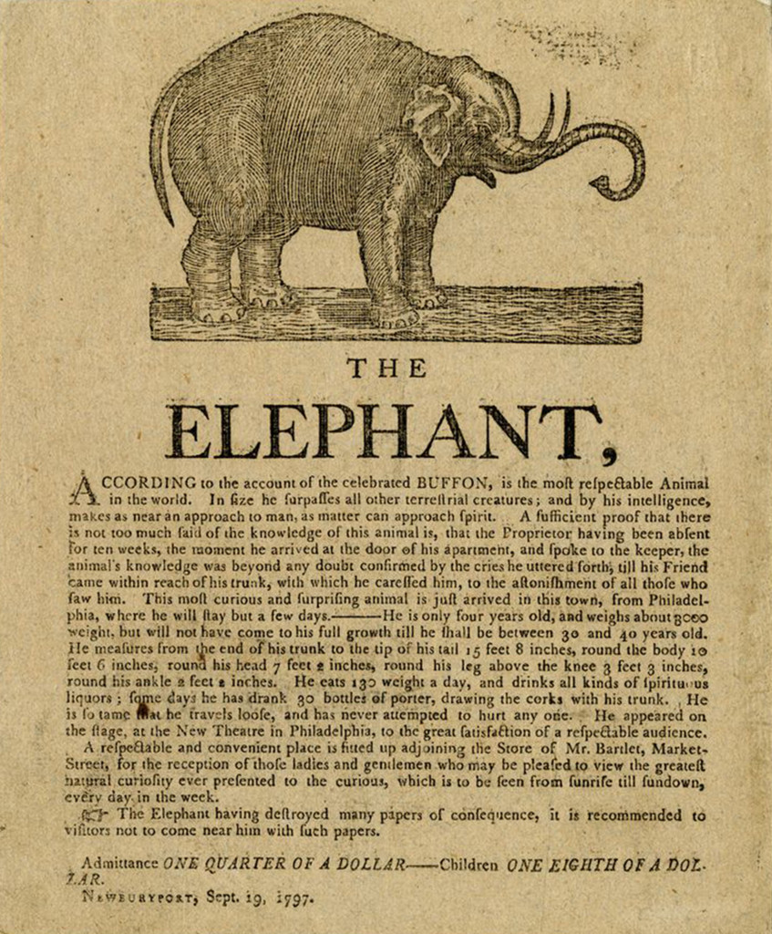 """The Elephant"" broadside, 1797"