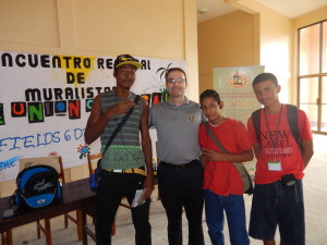 Andrew Veveiros of the U.S. Embassy with some of the painters from nearby islands.
