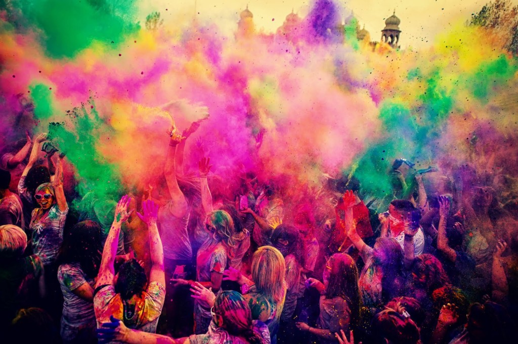 A Holi explosion of color in India. Courtesy of Andy Basil.