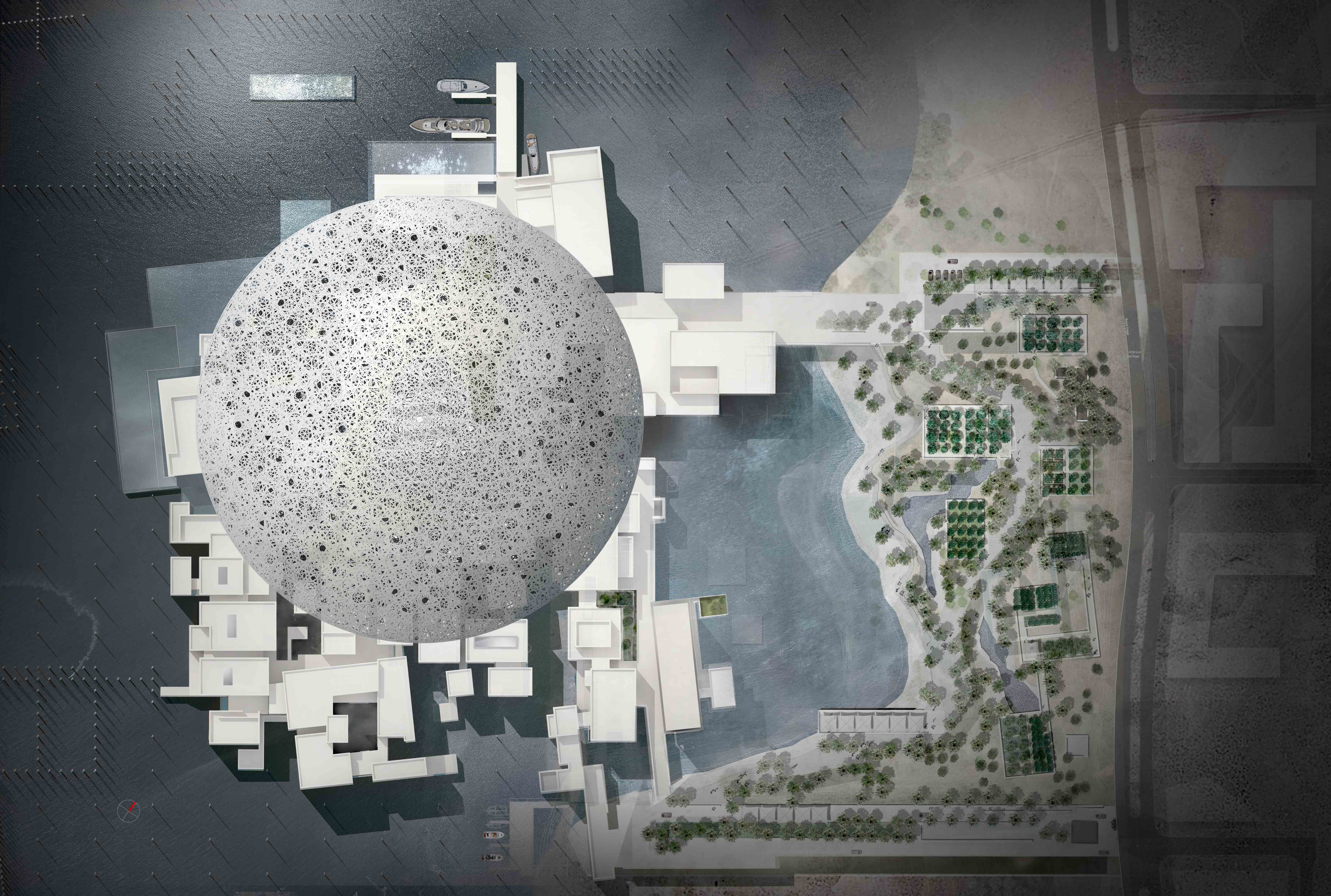Rendering of an aerial view of the Louvre Abu Dhabi/Courtesy of the Luxury Elitist.
