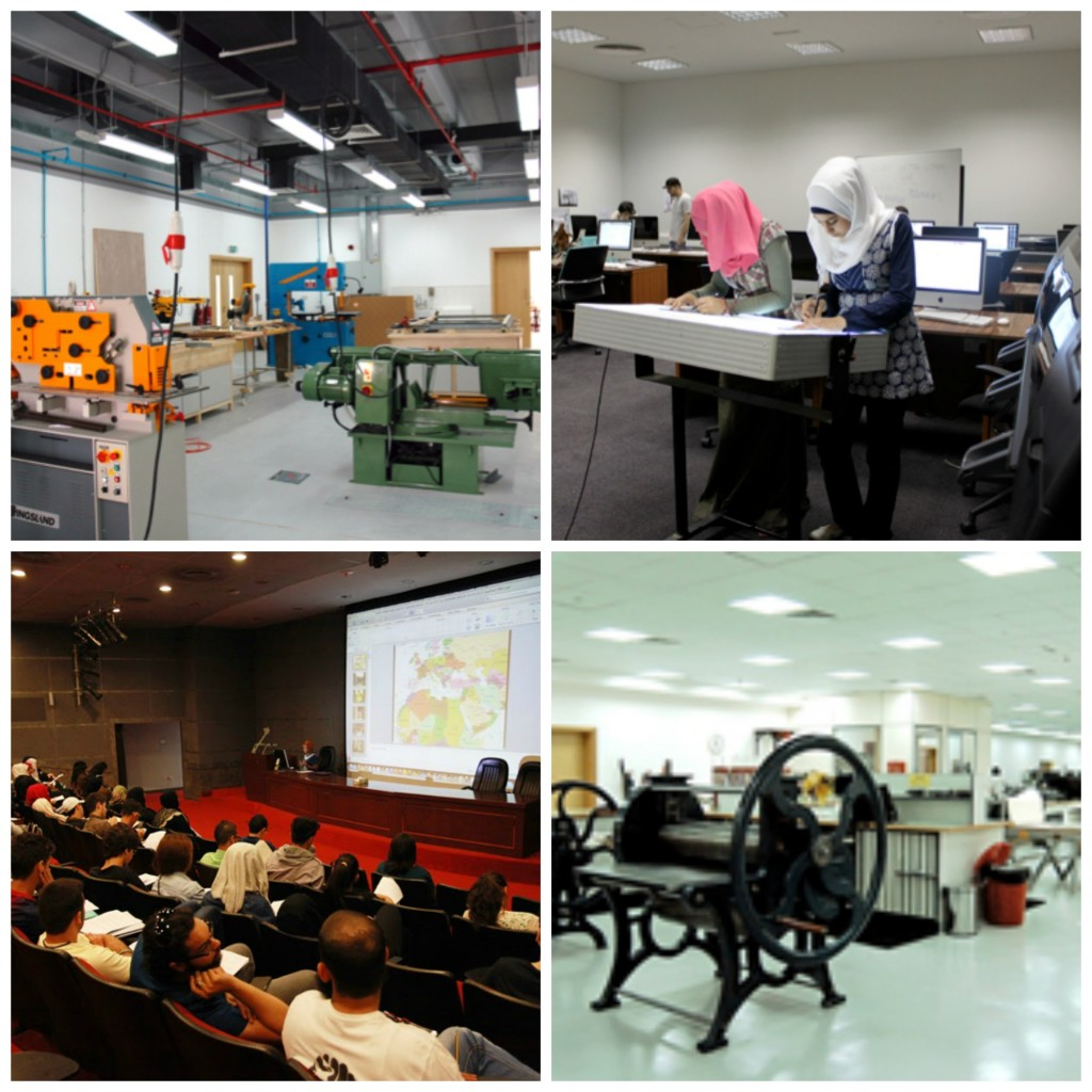 Facilities include a sculpture studio equipped with machinery for use with wood, metals, glass, and stone; a MAC lab for creating digital artwork; an auditorium for lectures, seminars, and film screenings; and one of the region's most comprehensive educational printmaking workshops /Courtesy of Sharjah University.