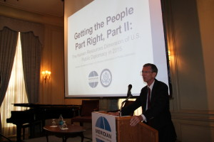 Ambassador Wohlers begins his presentation of Getting the People Part Right.