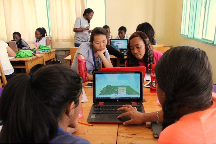 WiSci 2015 participants during a class on coding with Microsoft Africa instructors. Photo courtesy of the Secretary of State's Office of Global Partnerships.