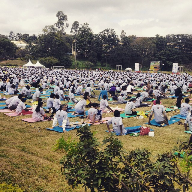 Students gather at Nairobi University in Kenya to partake in International Yoga Day.