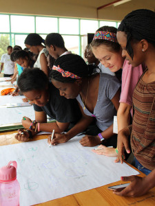 The WiSci campers test their recollection on the logos of well-known brands during the AOL Marketing Crash Course.