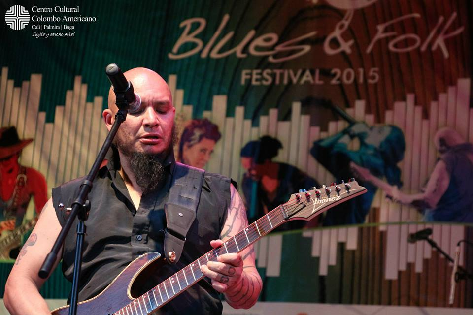 Blues musician Jorge Luis Vanegas Lopez performed at the Cali Blues & Folk Festival on September 10, 2015.