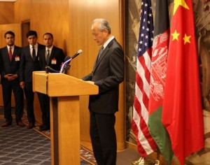 Ambassador Cui Tiankai, Chinese Ambassador to the United States, greets the group with a message from Chinese Foreign Minister Wang Yi.