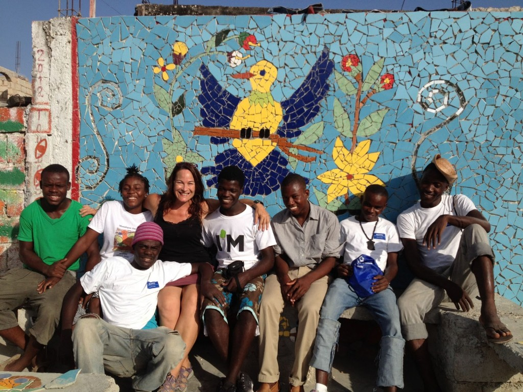 Laurel with participants on a previous project in Jacmel, Haiti