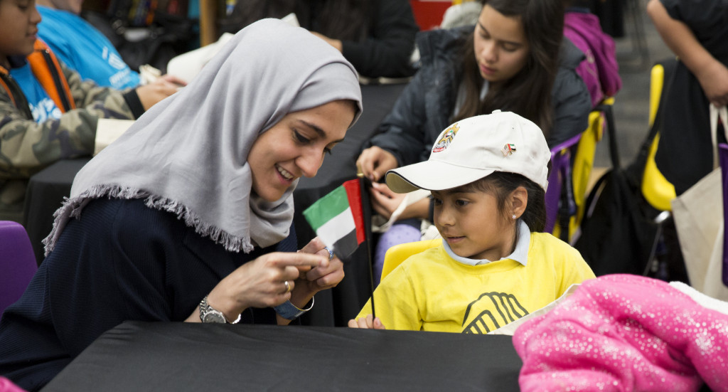 Past Forward artist Shaikha Al Mazrou at the Boys' and Girls' Club of East LA in January 2015.