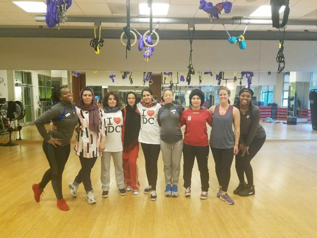 IVLP Participants take part in fitness class at YMCA