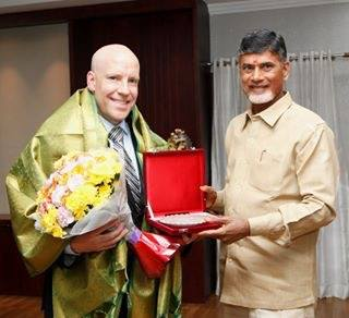 Richard Rossow meeting with Andhra Pradesh Chief Minister Chandrababu Naidu in Hyderabad