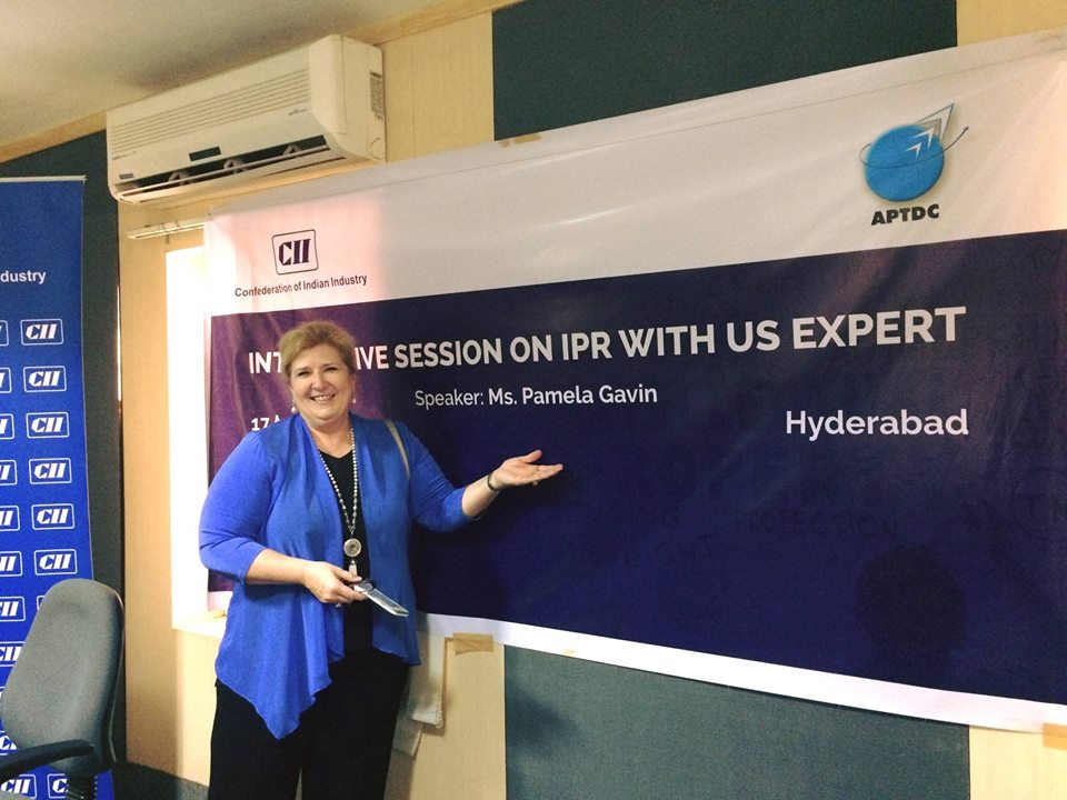 Pam Gavin posing before her meeting at the confederation of Indian industry in Hyderabad.