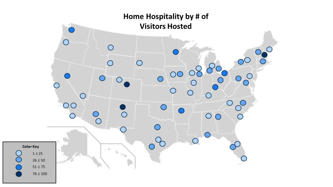"The ""Color Key"" represents the number of visitors participating in home hospitality. There are 63 cities listed."