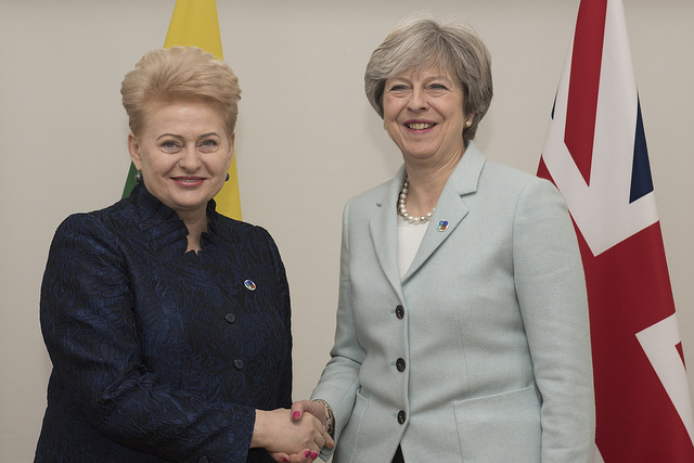 Lithuania President Dalia Grybauskaitė with fellow Meridian IVLP Alumna, British Prime Minister Theresa May (via Number 10 on Flickr)