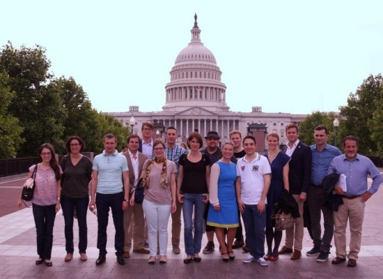 The visitors learn about the U.S. government and federalism in Washington, DC