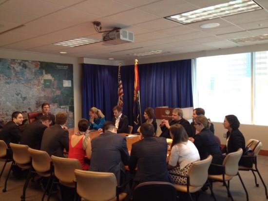 Phoenix Mayor Greg Stanton addresses European guests.