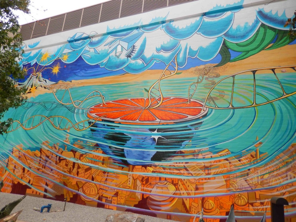 """""""Bridges"""" mural at Pitzer College, Claremont, CA"""