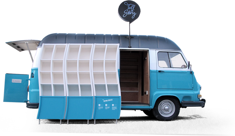A 1975 Renault Estafette decked out as a nomadic bookstore for Tell a Story.