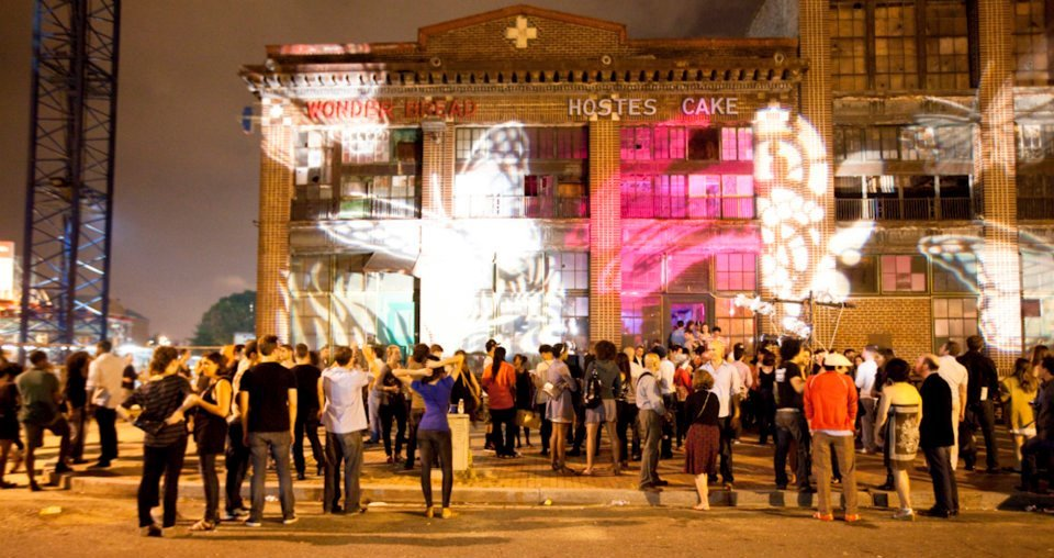 Projection on the Wonder Bread Factory in the Shaw neighborhood during Art All Night DC in 2011; Credit: Dakota Fine/Shaw Main Streets