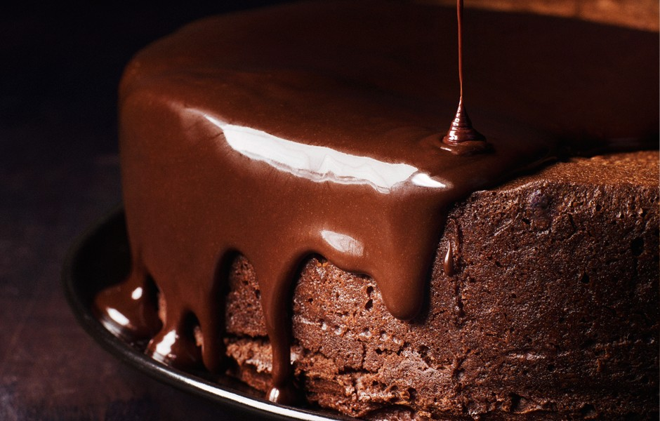 Darkest chocolate cake with red wine glaze; Credit: Bon Appetit