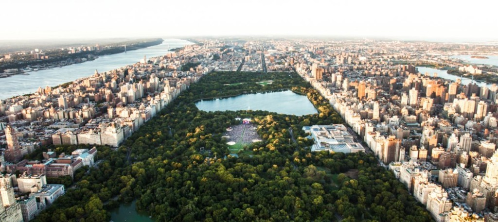 Aerial view of the Global Citizen Festival on the Great Lawn in Central Park, New York City