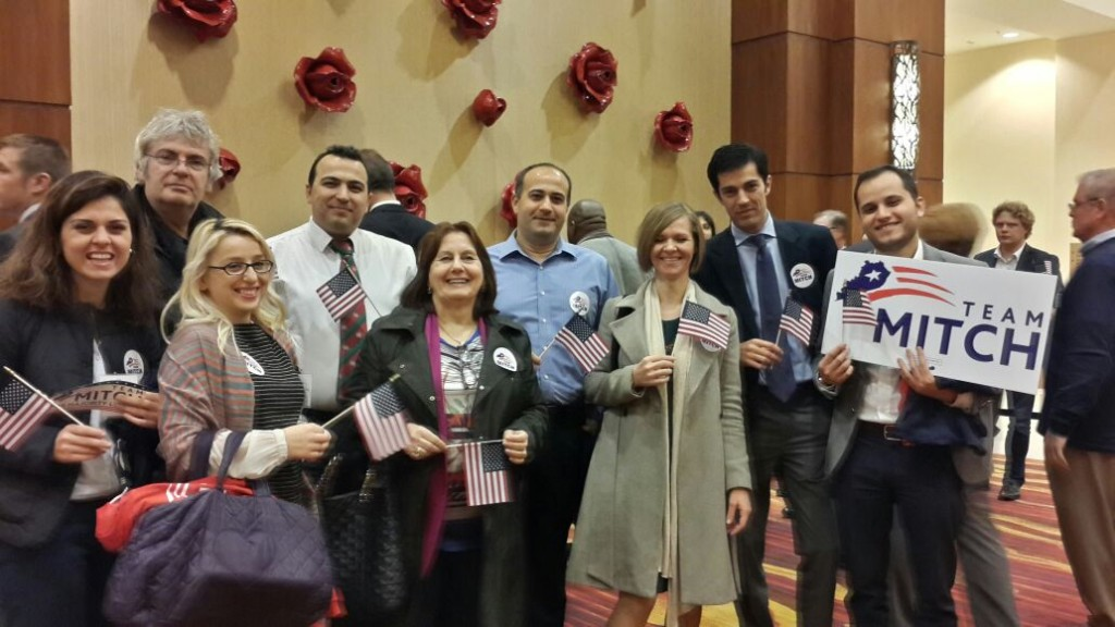 3. Albanian IVLP group attended election parties for both candidates. Here they are at Senator Mitch McConnell's victory party.