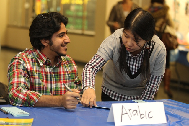 Students organizing a world language event at the University of Toledo (Photo Credit: University of Toledo)