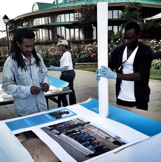 Getting ready for Addis Foto Fest. Photo credit: Malin Fezehai