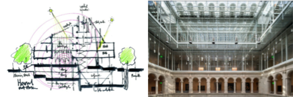On the left: Architect, Renzo Piano's sketch for merging Harvard's three museums. On the right: The interior courtyard of the museum after the dramatic overhaul that closed the spaces for six years. (Credit: Renzo Piano & Fred R. Conrad/The New York Times)