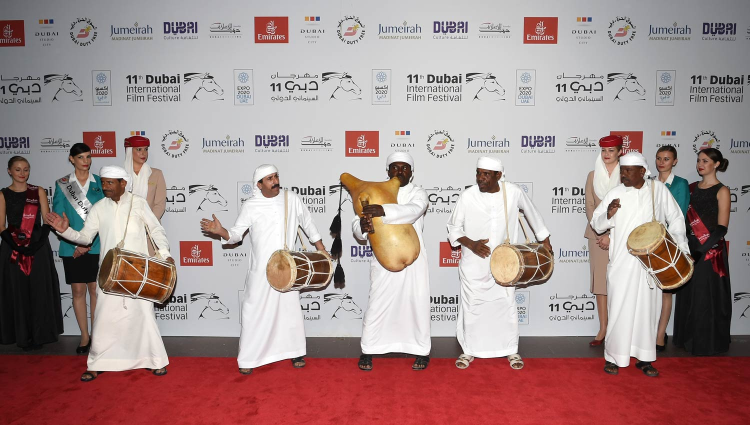 Emirati traditional musicians perform on the red carpet during the opening ceremony of the Dubai International Film Festival /Courtesy of Dubai International Film Festival.
