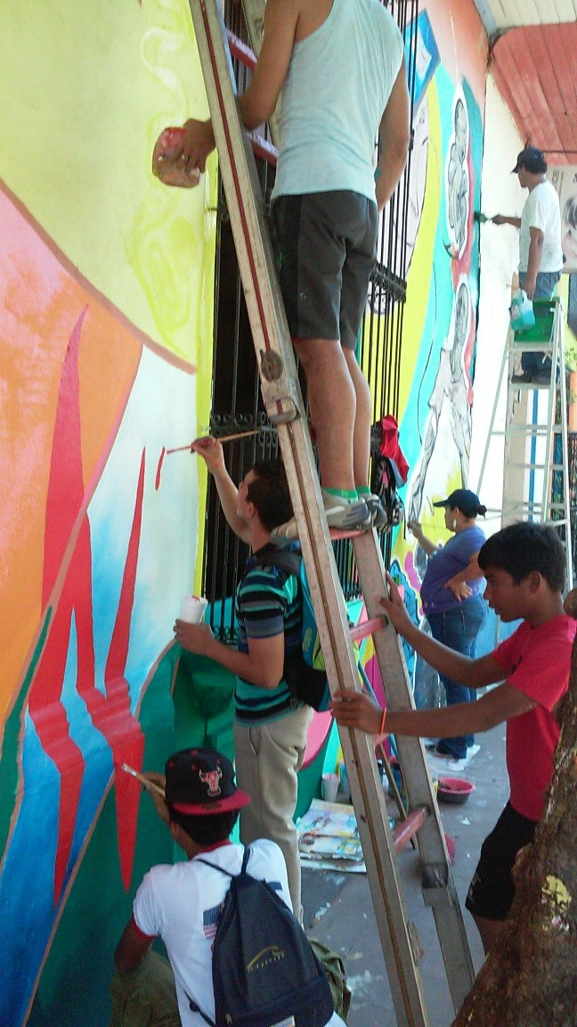 We had a lot of people helping out with this mural.