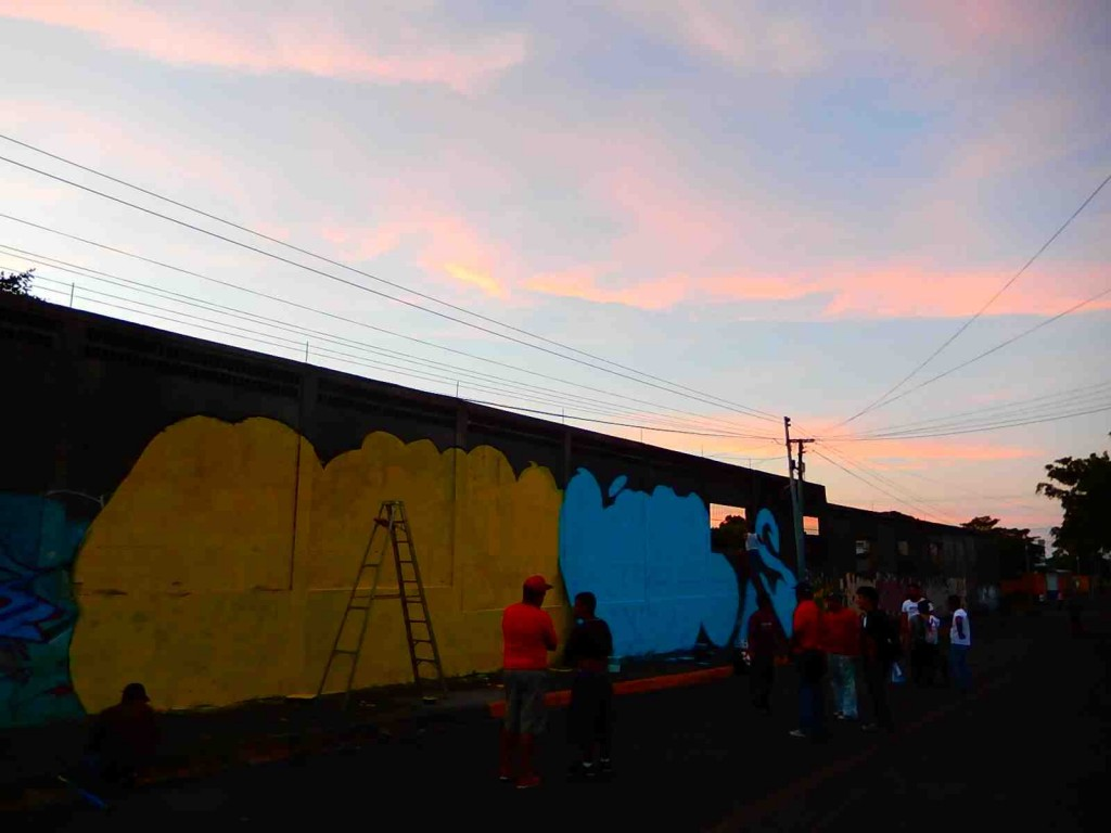 We worked till sunset to prime the wall.