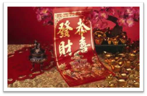 "This is a couplet that reads, ""Congratulations on a New Year of Prosperity"" in Chinese."