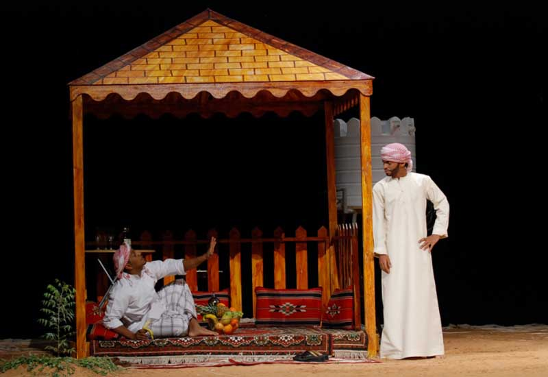 A scene from a play with traditional Diwan-style seating during the 2013 festival/Courtesy of Dubai Culture.